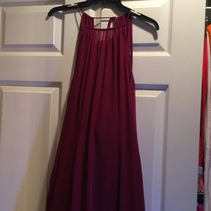 Long plum prom or bridesmaid dress
